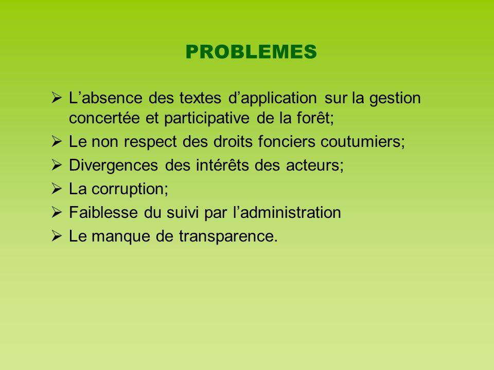PROBLEMES Labsence des textes dapplication sur la gestion concertée et participative de la forêt; Le non respect des droits fonciers coutumiers; Diver