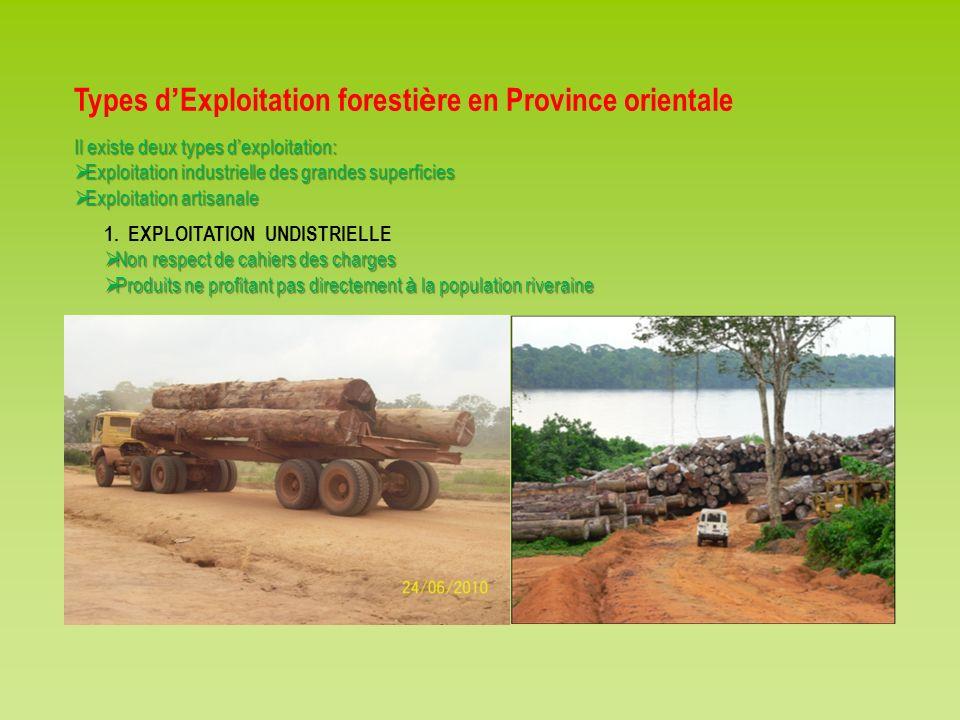 Types d Exploitation foresti è re en Province orientale Il existe deux types dexploitation: Exploitation industrielle des grandes superficies Exploita