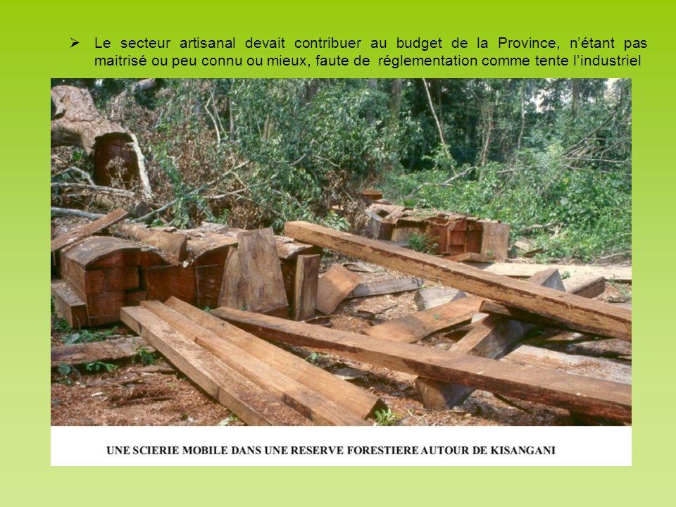 Le secteur artisanal devait contribuer au budget de la Province, nétant pas maitrisé ou peu connu ou mieux, faute de réglementation comme tente lindus