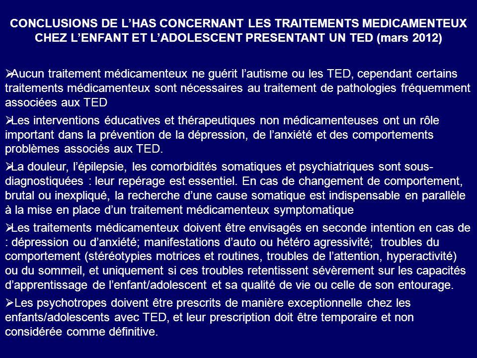Monaco 9 nov 2012 CONCLUSIONS DE LHAS CONCERNANT LES TRAITEMENTS MEDICAMENTEUX CHEZ LENFANT ET LADOLESCENT PRESENTANT UN TED (mars 2012) Aucun traitem