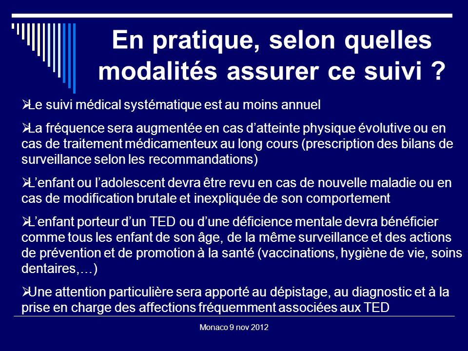 Monaco 9 nov 2012 En pratique, selon quelles modalités assurer ce suivi ? Le suivi médical systématique est au moins annuel La fréquence sera augmenté