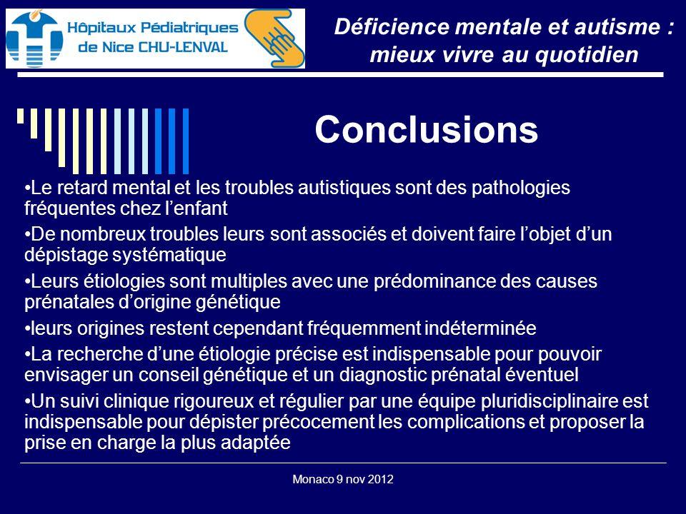 Monaco 9 nov 2012 Conclusions Déficience mentale et autisme : mieux vivre au quotidien Le retard mental et les troubles autistiques sont des pathologi