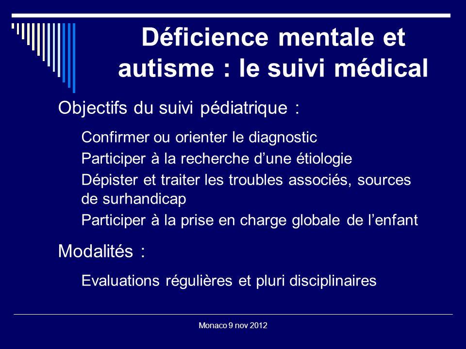 Monaco 9 nov 2012 Déficience mentale et autisme : le suivi médical Objectifs du suivi pédiatrique : Confirmer ou orienter le diagnostic Participer à l