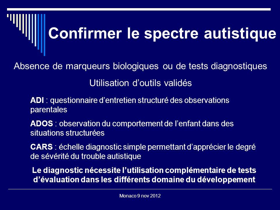Monaco 9 nov 2012 Confirmer le spectre autistique Absence de marqueurs biologiques ou de tests diagnostiques Utilisation doutils validés ADI : questio