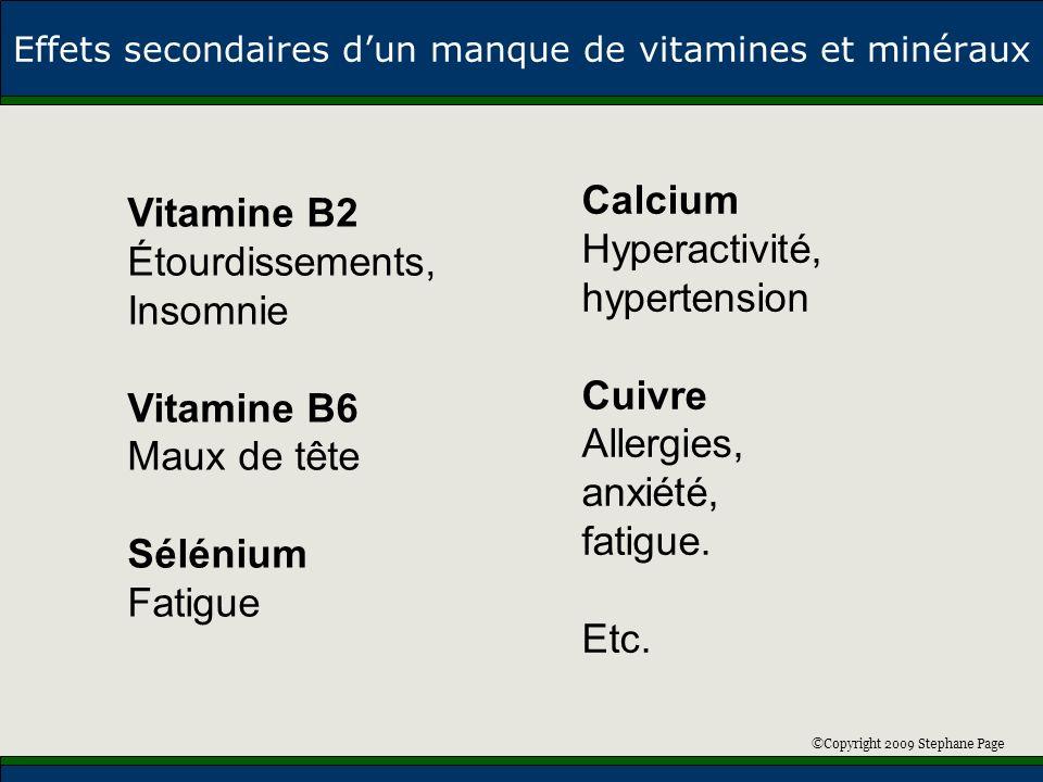 ©Copyright 2009 Stephane Page Effets secondaires dun manque de vitamines et minéraux Vitamine B2 Étourdissements, Insomnie Vitamine B6 Maux de tête Sé
