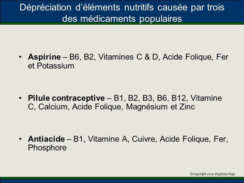 ©Copyright 2009 Stephane Page Dépréciation déléments nutritifs causée par trois des médicaments populaires Aspirine – B6, B2, Vitamines C & D, Acide F