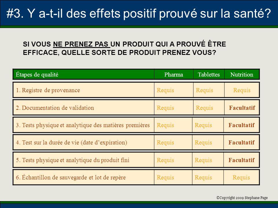 ©Copyright 2009 Stephane Page #3. Y a-t-il des effets positif prouvé sur la santé? Étapes de qualitéPharmaTablettesNutrition 2. Documentation de valid