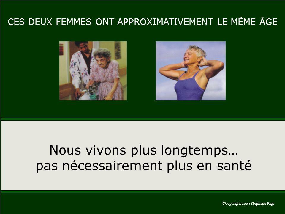 ©Copyright 2006 Stephane Page©Copyright 2009 Stephane Page Nous vivons plus longtemps… pas nécessairement plus en santé CES DEUX FEMMES ONT APPROXIMAT