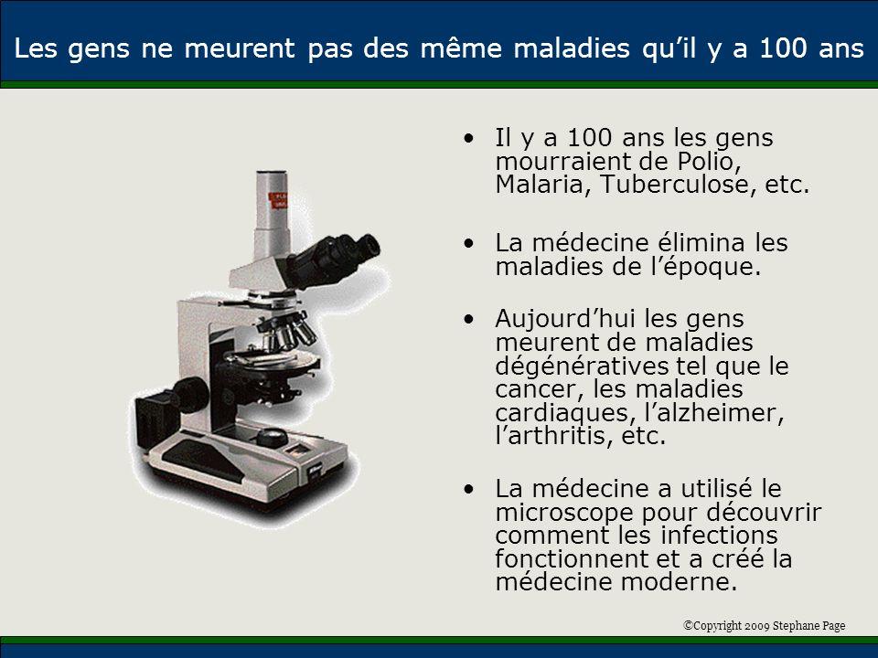 ©Copyright 2009 Stephane Page Les gens ne meurent pas des même maladies quil y a 100 ans Il y a 100 ans les gens mourraient de Polio, Malaria, Tubercu