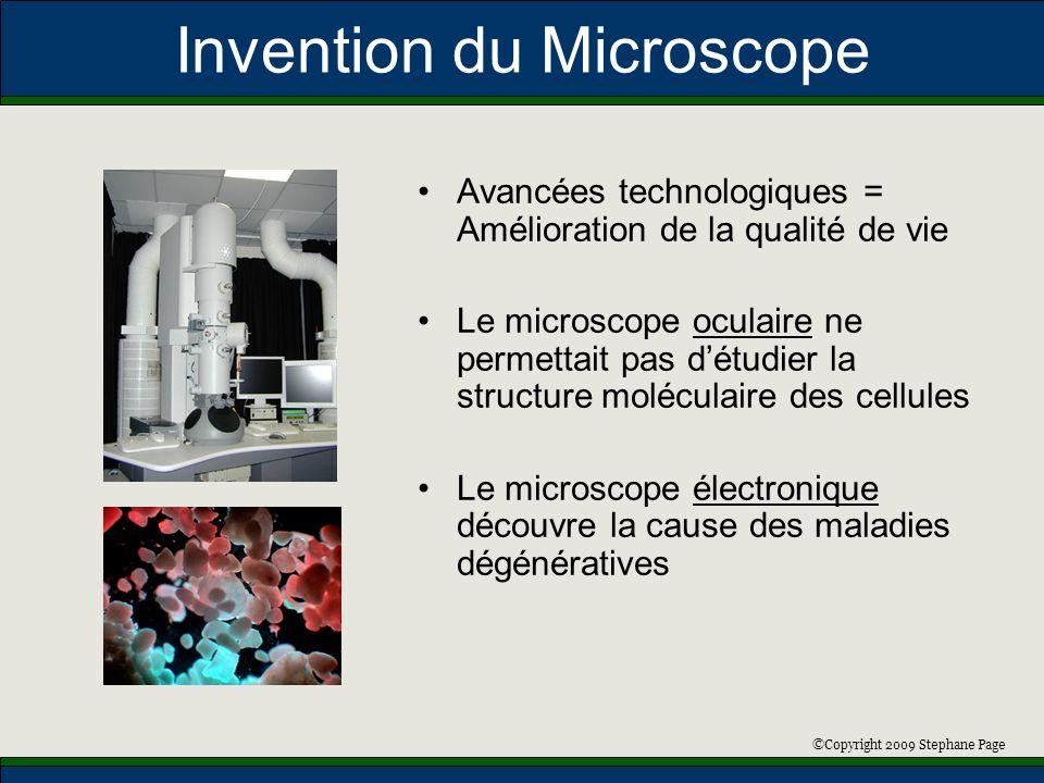 ©Copyright 2009 Stephane Page Invention du Microscope Avancées technologiques = Amélioration de la qualité de vie Le microscope oculaire ne permettait