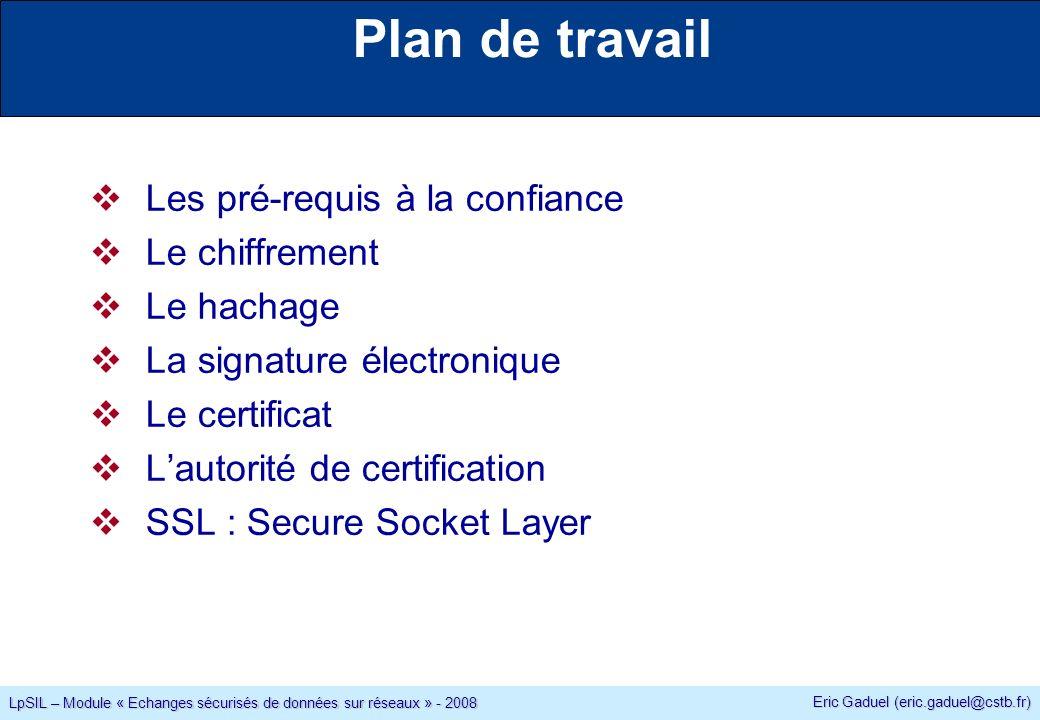 Eric Gaduel (eric.gaduel@cstb.fr) LpSIL – Module « Echanges sécurisés de données sur réseaux » - 2008 Plan de travail Les pré-requis à la confiance Le chiffrement Le hachage La signature électronique Le certificat Lautorité de certification SSL : Secure Socket Layer