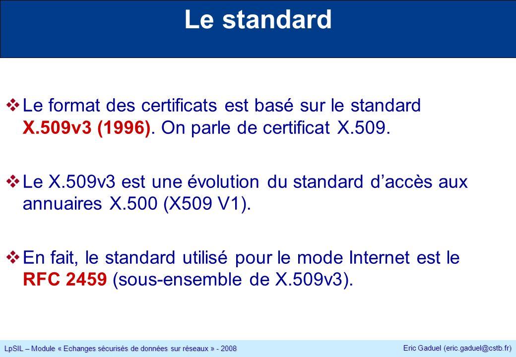 Eric Gaduel (eric.gaduel@cstb.fr) LpSIL – Module « Echanges sécurisés de données sur réseaux » - 2008 Le standard Le format des certificats est basé sur le standard X.509v3 (1996).