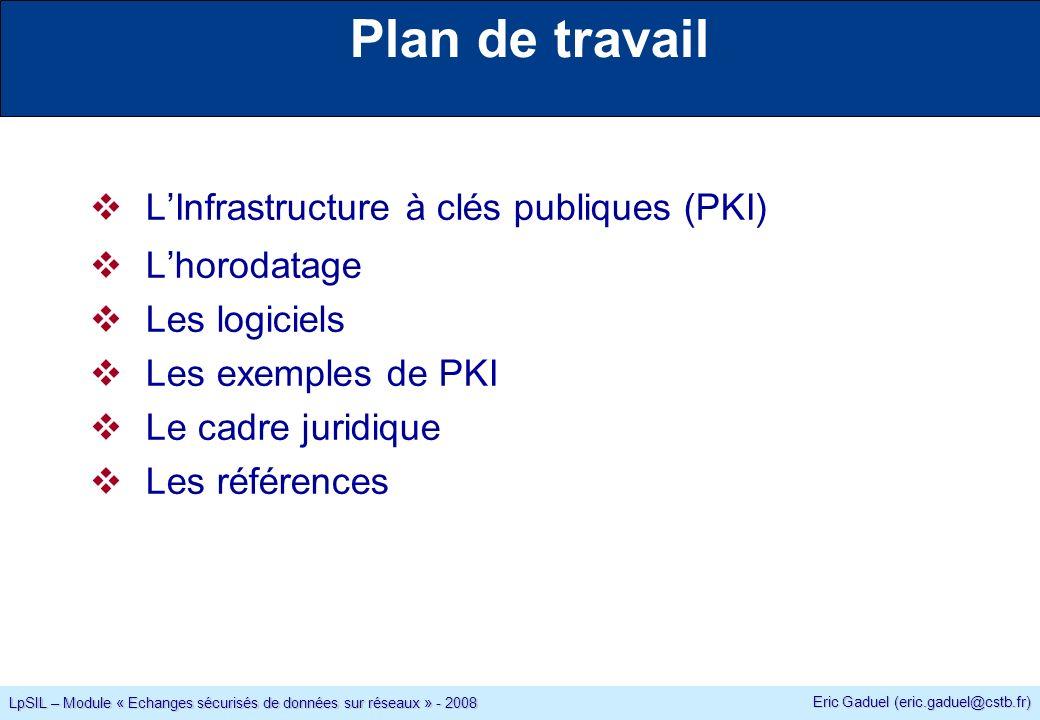 Eric Gaduel (eric.gaduel@cstb.fr) LpSIL – Module « Echanges sécurisés de données sur réseaux » - 2008 Plan de travail LInfrastructure à clés publiques (PKI) Lhorodatage Les logiciels Les exemples de PKI Le cadre juridique Les références