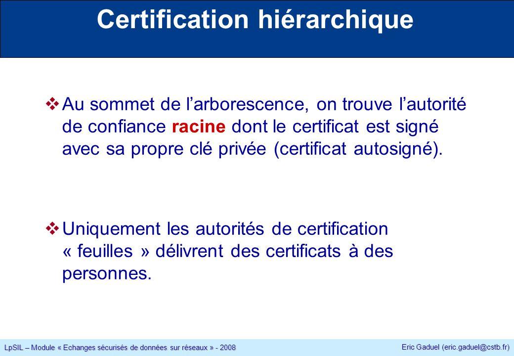 Eric Gaduel (eric.gaduel@cstb.fr) LpSIL – Module « Echanges sécurisés de données sur réseaux » - 2008 Certification hiérarchique Au sommet de larborescence, on trouve lautorité de confiance racine dont le certificat est signé avec sa propre clé privée (certificat autosigné).