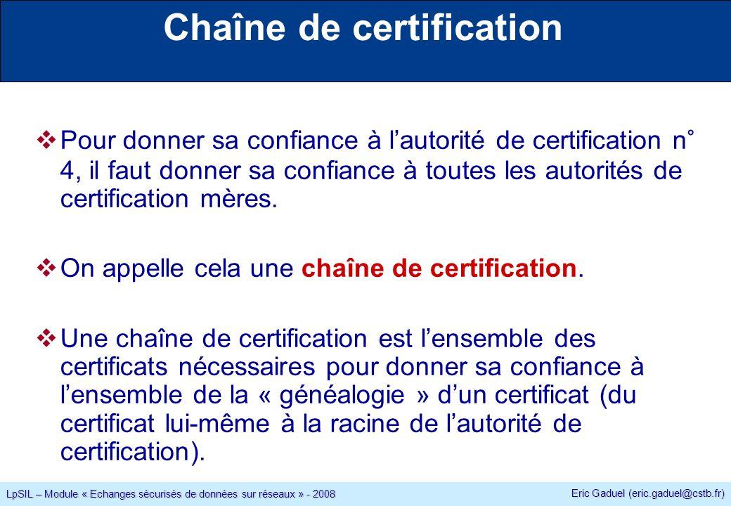Eric Gaduel (eric.gaduel@cstb.fr) LpSIL – Module « Echanges sécurisés de données sur réseaux » - 2008 Chaîne de certification Pour donner sa confiance à lautorité de certification n° 4, il faut donner sa confiance à toutes les autorités de certification mères.