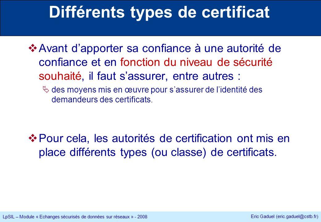 Eric Gaduel (eric.gaduel@cstb.fr) LpSIL – Module « Echanges sécurisés de données sur réseaux » - 2008 Différents types de certificat Avant dapporter sa confiance à une autorité de confiance et en fonction du niveau de sécurité souhaité, il faut sassurer, entre autres : des moyens mis en œuvre pour sassurer de lidentité des demandeurs des certificats.