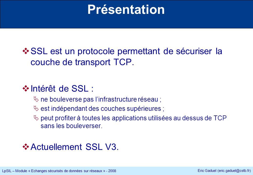 Eric Gaduel (eric.gaduel@cstb.fr) LpSIL – Module « Echanges sécurisés de données sur réseaux » - 2008 Présentation SSL est un protocole permettant de sécuriser la couche de transport TCP.