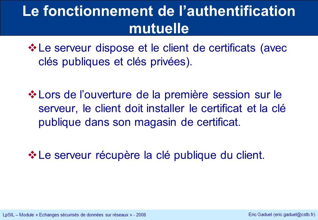 Eric Gaduel (eric.gaduel@cstb.fr) LpSIL – Module « Echanges sécurisés de données sur réseaux » - 2008 Le fonctionnement de lauthentification mutuelle Le serveur dispose et le client de certificats (avec clés publiques et clés privées).