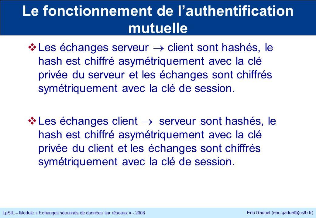 Eric Gaduel (eric.gaduel@cstb.fr) LpSIL – Module « Echanges sécurisés de données sur réseaux » - 2008 Le fonctionnement de lauthentification mutuelle Les échanges serveur client sont hashés, le hash est chiffré asymétriquement avec la clé privée du serveur et les échanges sont chiffrés symétriquement avec la clé de session.