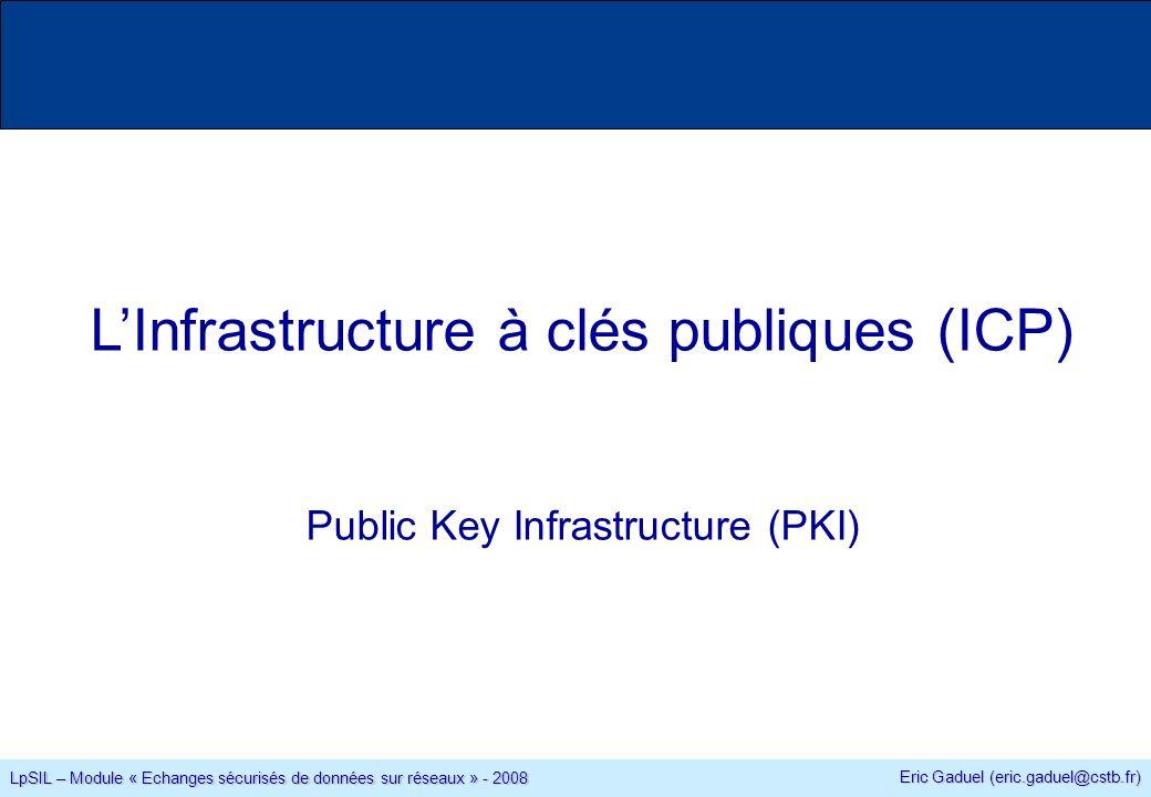 Eric Gaduel (eric.gaduel@cstb.fr) LpSIL – Module « Echanges sécurisés de données sur réseaux » - 2008 LInfrastructure à clés publiques (ICP) Public Key Infrastructure (PKI)