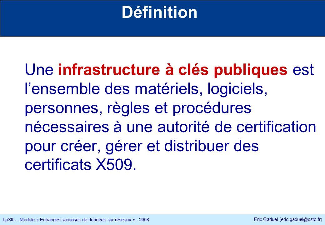 Eric Gaduel (eric.gaduel@cstb.fr) LpSIL – Module « Echanges sécurisés de données sur réseaux » - 2008 Définition Une infrastructure à clés publiques est lensemble des matériels, logiciels, personnes, règles et procédures nécessaires à une autorité de certification pour créer, gérer et distribuer des certificats X509.