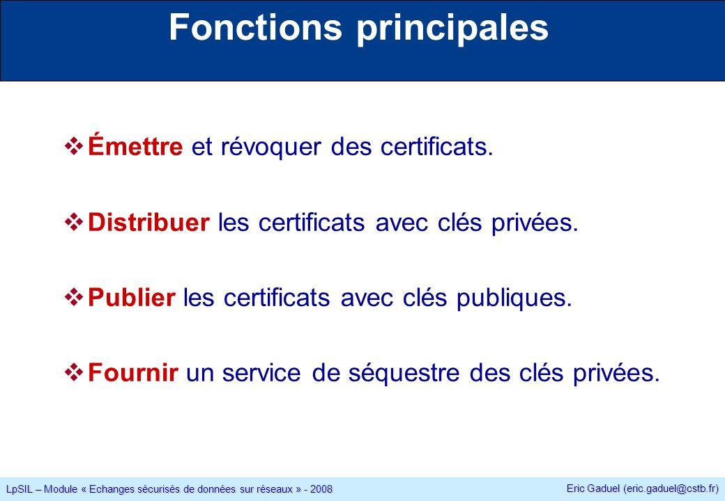 Eric Gaduel (eric.gaduel@cstb.fr) LpSIL – Module « Echanges sécurisés de données sur réseaux » - 2008 Fonctions principales Émettre et révoquer des certificats.