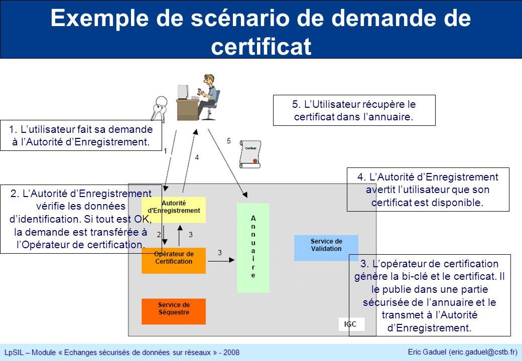 Eric Gaduel (eric.gaduel@cstb.fr) LpSIL – Module « Echanges sécurisés de données sur réseaux » - 2008 Exemple de scénario de demande de certificat 1.