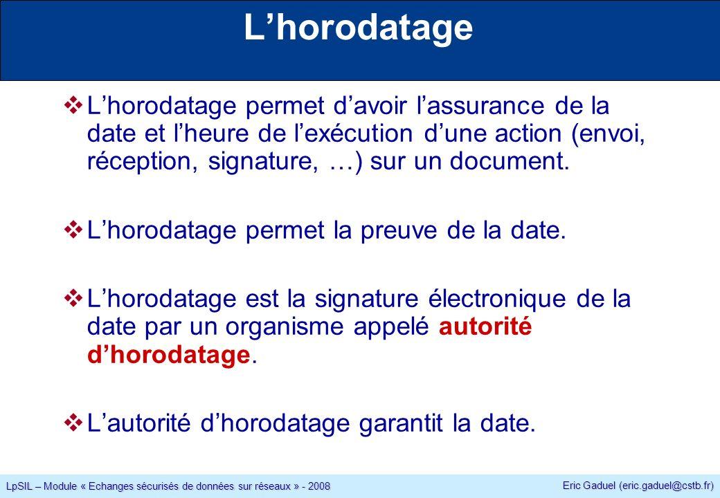 Eric Gaduel (eric.gaduel@cstb.fr) LpSIL – Module « Echanges sécurisés de données sur réseaux » - 2008 Lhorodatage Lhorodatage permet davoir lassurance de la date et lheure de lexécution dune action (envoi, réception, signature, …) sur un document.