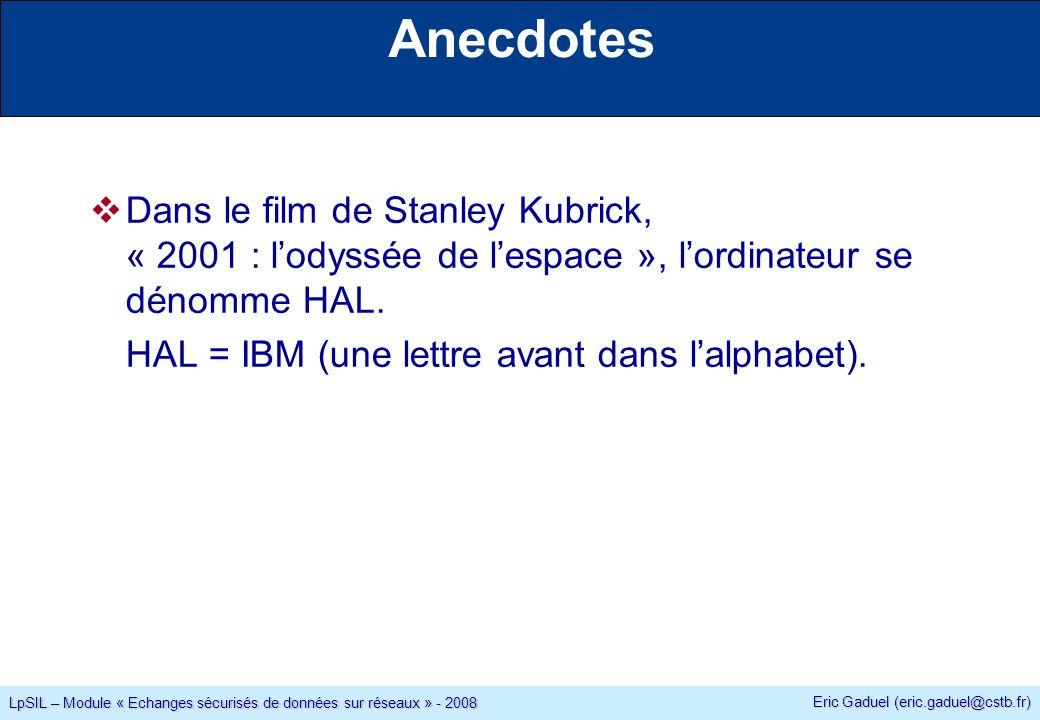 Eric Gaduel (eric.gaduel@cstb.fr) LpSIL – Module « Echanges sécurisés de données sur réseaux » - 2008 Anecdotes Dans le film de Stanley Kubrick, « 2001 : lodyssée de lespace », lordinateur se dénomme HAL.