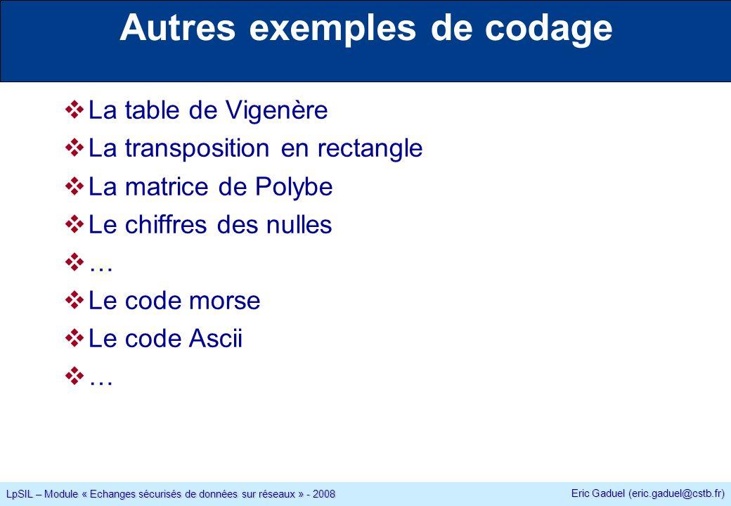 Eric Gaduel (eric.gaduel@cstb.fr) LpSIL – Module « Echanges sécurisés de données sur réseaux » - 2008 La table de Vigenère La transposition en rectangle La matrice de Polybe Le chiffres des nulles … Le code morse Le code Ascii … Autres exemples de codage