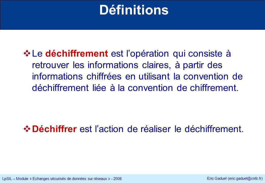 Eric Gaduel (eric.gaduel@cstb.fr) LpSIL – Module « Echanges sécurisés de données sur réseaux » - 2008 Définitions Le déchiffrement est lopération qui consiste à retrouver les informations claires, à partir des informations chiffrées en utilisant la convention de déchiffrement liée à la convention de chiffrement.