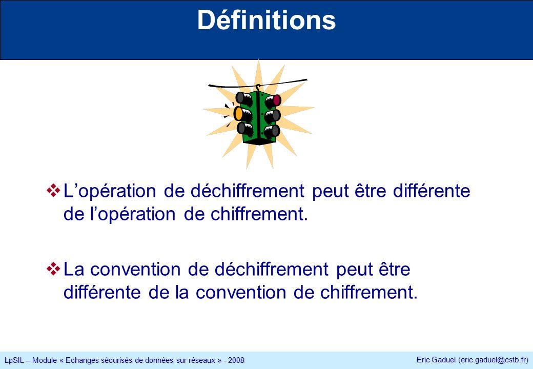 Eric Gaduel (eric.gaduel@cstb.fr) LpSIL – Module « Echanges sécurisés de données sur réseaux » - 2008 Définitions Lopération de déchiffrement peut être différente de lopération de chiffrement.