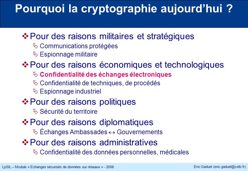 Eric Gaduel (eric.gaduel@cstb.fr) LpSIL – Module « Echanges sécurisés de données sur réseaux » - 2008 Pourquoi la cryptographie aujourdhui .