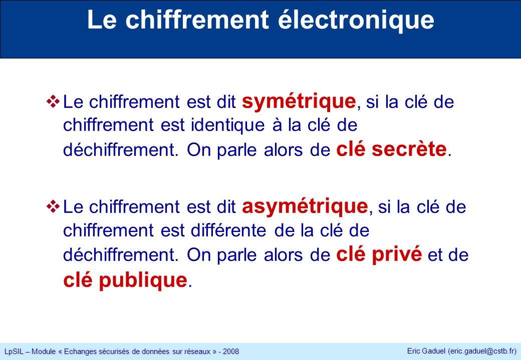 Eric Gaduel (eric.gaduel@cstb.fr) LpSIL – Module « Echanges sécurisés de données sur réseaux » - 2008 Le chiffrement électronique Le chiffrement est dit symétrique, si la clé de chiffrement est identique à la clé de déchiffrement.