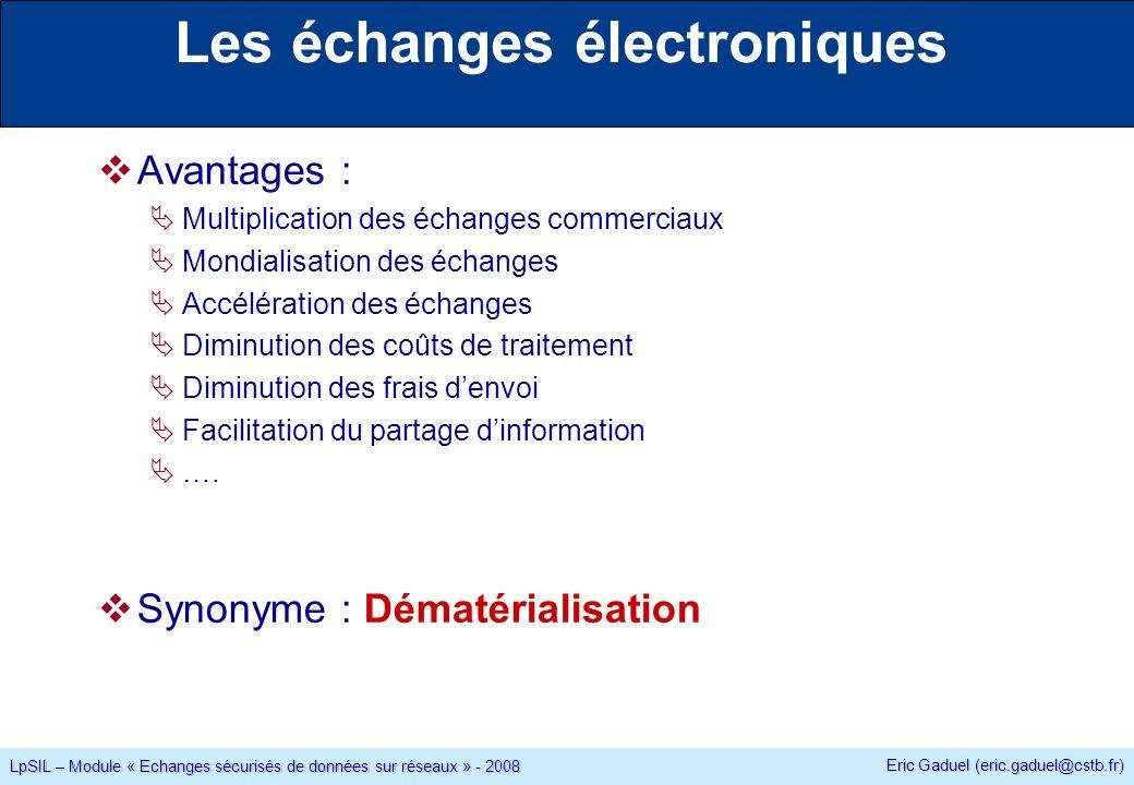 Eric Gaduel (eric.gaduel@cstb.fr) LpSIL – Module « Echanges sécurisés de données sur réseaux » - 2008 Rappels Chiffrement symétrique : explosion exponentielle du nombre de clés avec le nombre de correspondants : n(n-1)/2 clés pour un groupe de n personnes.