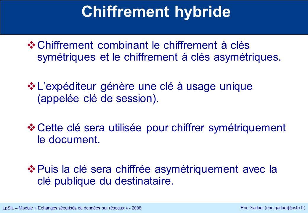 Eric Gaduel (eric.gaduel@cstb.fr) LpSIL – Module « Echanges sécurisés de données sur réseaux » - 2008 Chiffrement hybride Chiffrement combinant le chiffrement à clés symétriques et le chiffrement à clés asymétriques.