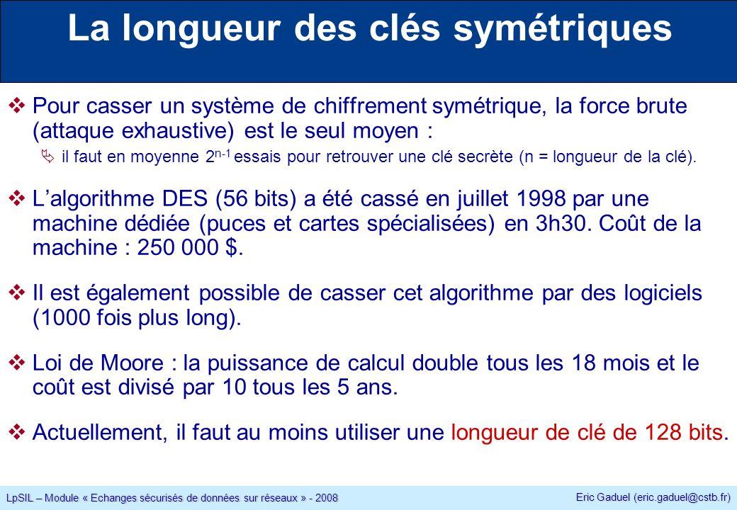 Eric Gaduel (eric.gaduel@cstb.fr) LpSIL – Module « Echanges sécurisés de données sur réseaux » - 2008 La longueur des clés symétriques Pour casser un système de chiffrement symétrique, la force brute (attaque exhaustive) est le seul moyen : il faut en moyenne 2 n-1 essais pour retrouver une clé secrète (n = longueur de la clé).