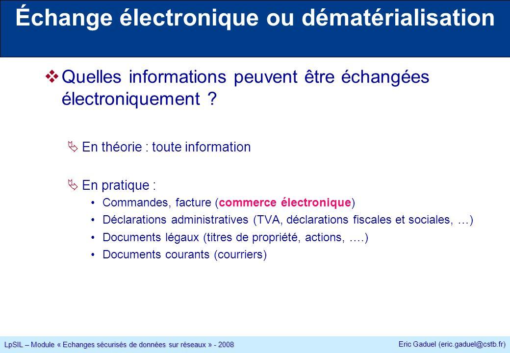 Eric Gaduel (eric.gaduel@cstb.fr) LpSIL – Module « Echanges sécurisés de données sur réseaux » - 2008 Visualisation des certificats sur un navigateur Interne Magasin de certificats dInternet Explorer (par abus de langage : magasin Windows) : Option / Contenu / Certificat Les autres navigateur ont également leur propre magasin de certificats.
