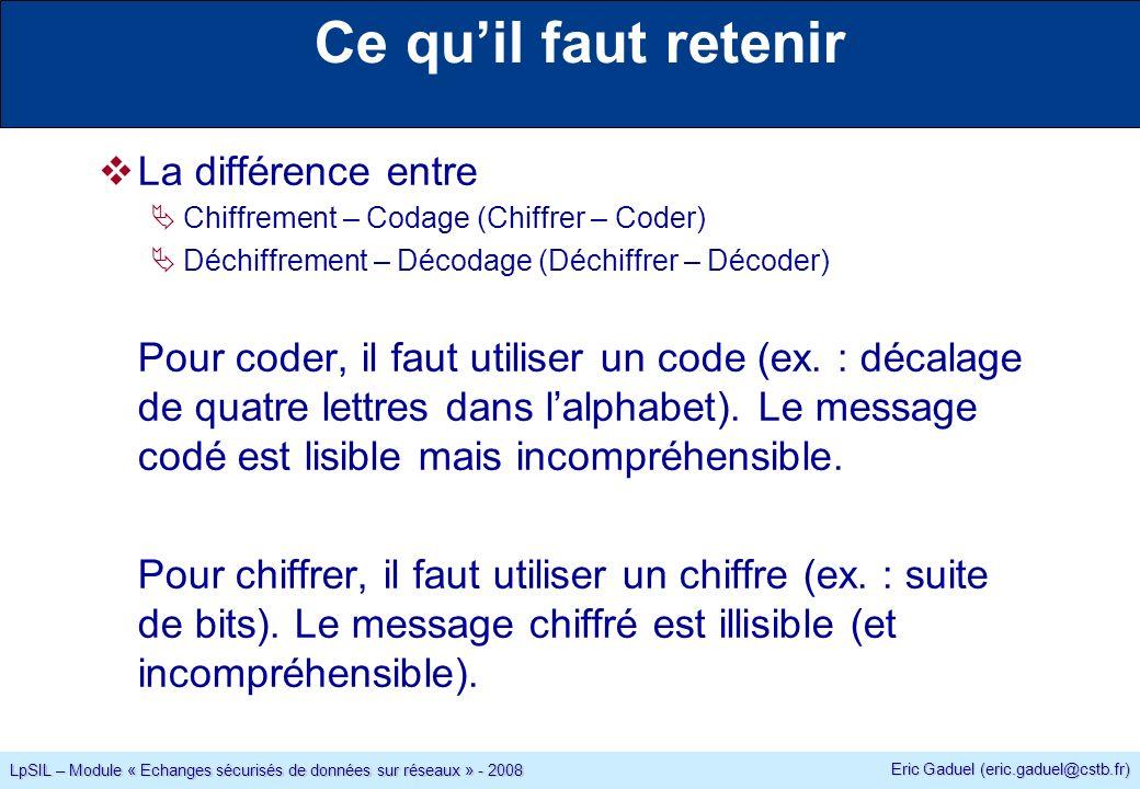 Eric Gaduel (eric.gaduel@cstb.fr) LpSIL – Module « Echanges sécurisés de données sur réseaux » - 2008 Ce quil faut retenir La différence entre Chiffrement – Codage (Chiffrer – Coder) Déchiffrement – Décodage (Déchiffrer – Décoder) Pour coder, il faut utiliser un code (ex.