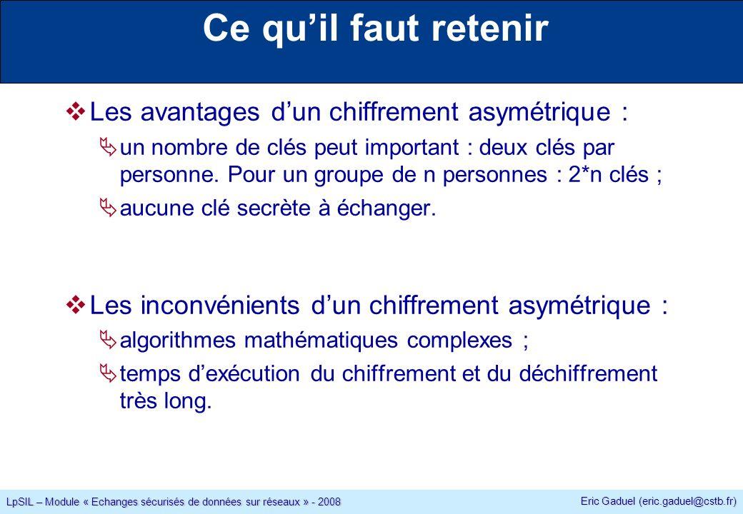 Eric Gaduel (eric.gaduel@cstb.fr) LpSIL – Module « Echanges sécurisés de données sur réseaux » - 2008 Ce quil faut retenir Les avantages dun chiffrement asymétrique : un nombre de clés peut important : deux clés par personne.