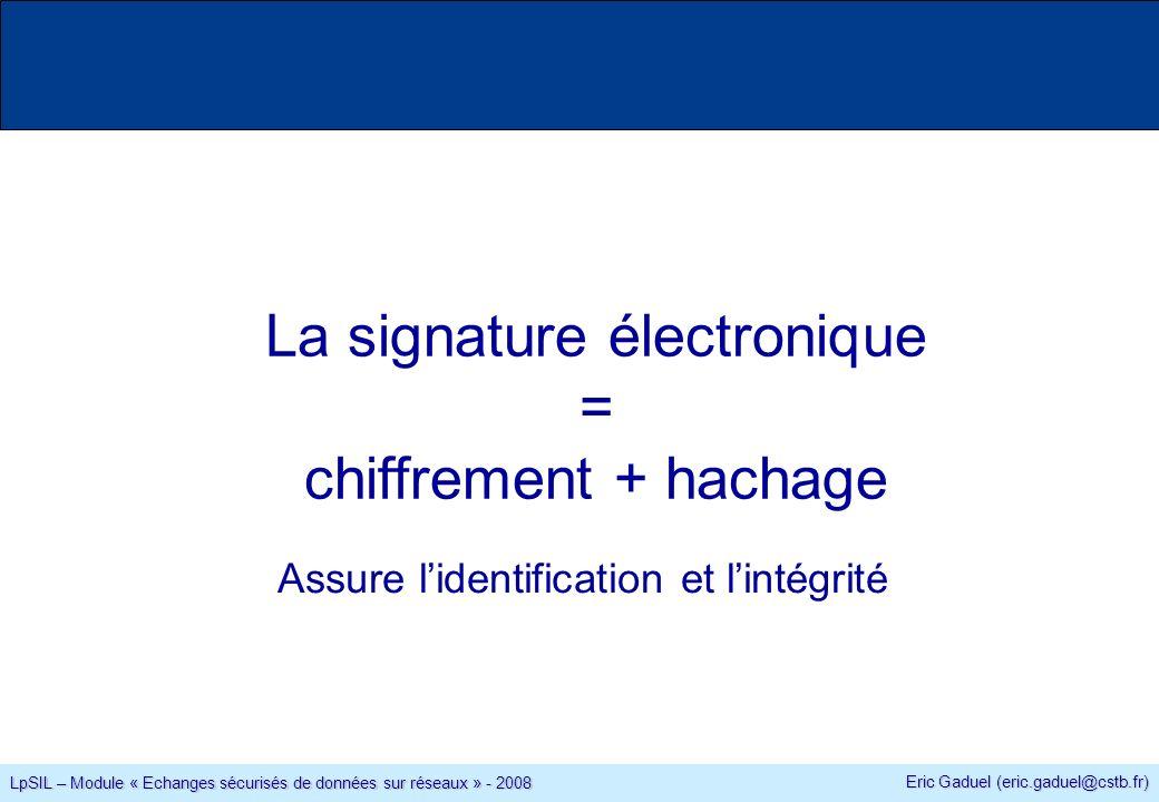 Eric Gaduel (eric.gaduel@cstb.fr) LpSIL – Module « Echanges sécurisés de données sur réseaux » - 2008 La signature électronique = chiffrement + hachage Assure lidentification et lintégrité