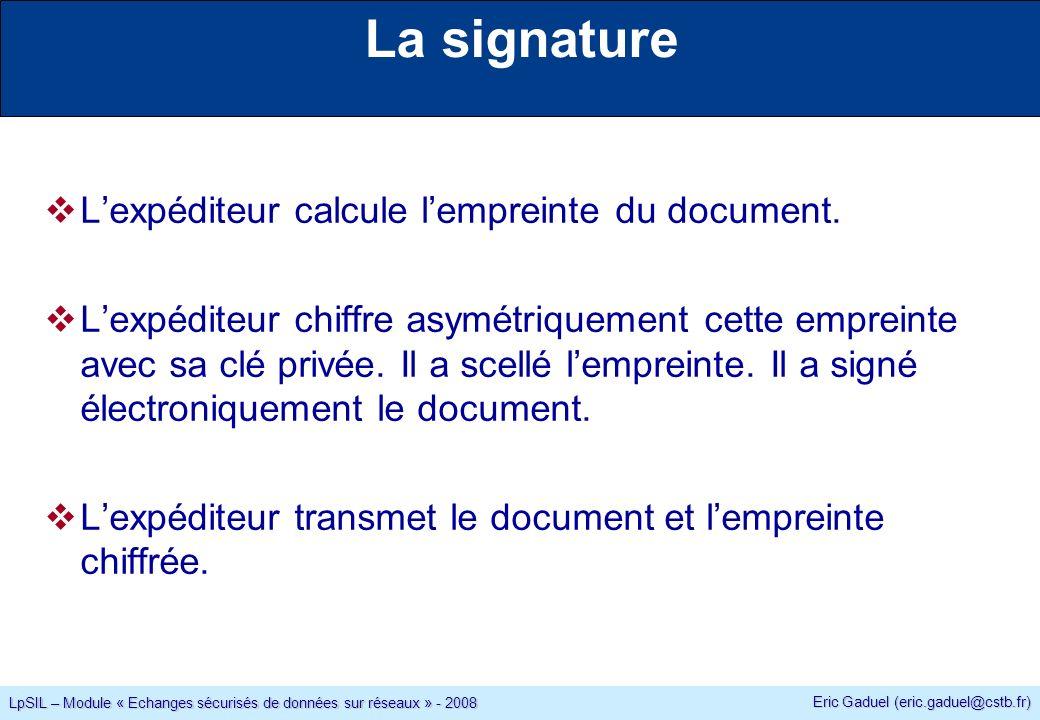 Eric Gaduel (eric.gaduel@cstb.fr) LpSIL – Module « Echanges sécurisés de données sur réseaux » - 2008 La signature Lexpéditeur calcule lempreinte du document.