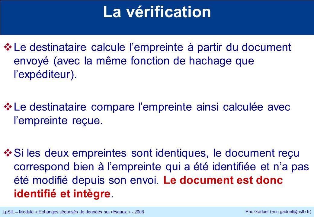 Eric Gaduel (eric.gaduel@cstb.fr) LpSIL – Module « Echanges sécurisés de données sur réseaux » - 2008 La vérification Le destinataire calcule lempreinte à partir du document envoyé (avec la même fonction de hachage que lexpéditeur).