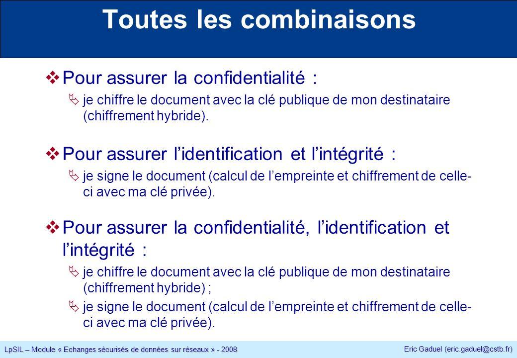 Eric Gaduel (eric.gaduel@cstb.fr) LpSIL – Module « Echanges sécurisés de données sur réseaux » - 2008 Toutes les combinaisons Pour assurer la confidentialité : je chiffre le document avec la clé publique de mon destinataire (chiffrement hybride).
