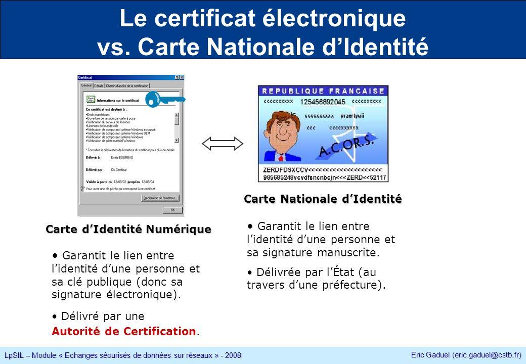 Eric Gaduel (eric.gaduel@cstb.fr) LpSIL – Module « Echanges sécurisés de données sur réseaux » - 2008 Le certificat électronique vs.