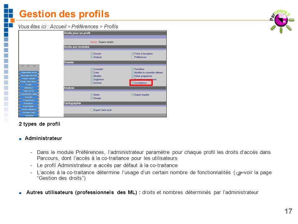 17 Gestion des profils 2 types de profil Administrateur -Dans le module Préférences, ladministrateur paramètre pour chaque profil les droits daccès da