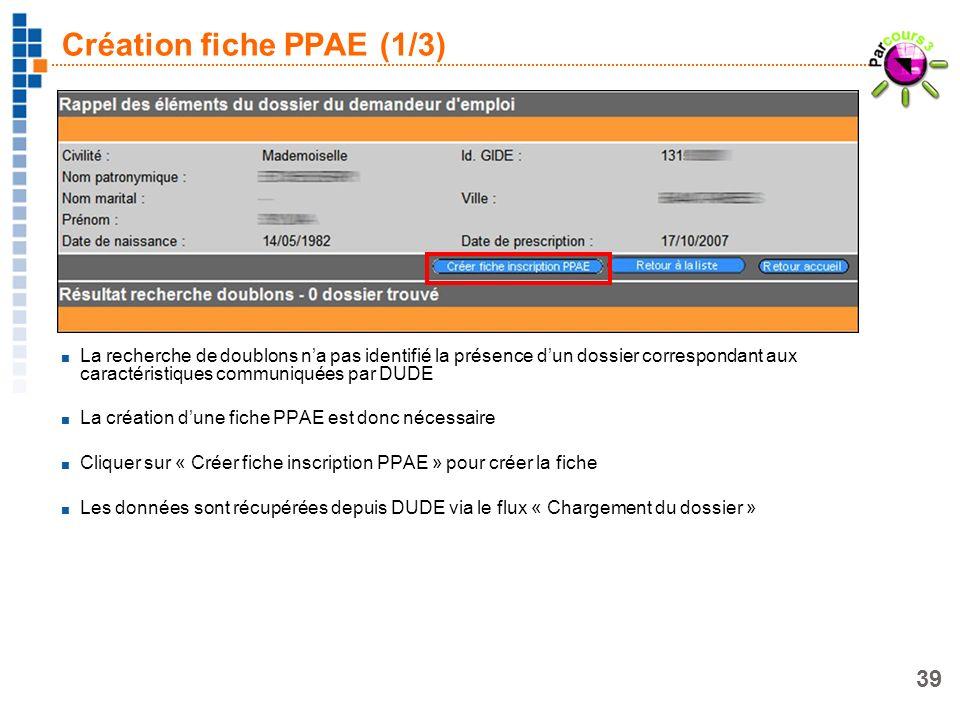 39 Création fiche PPAE (1/3) La recherche de doublons na pas identifié la présence dun dossier correspondant aux caractéristiques communiquées par DUD