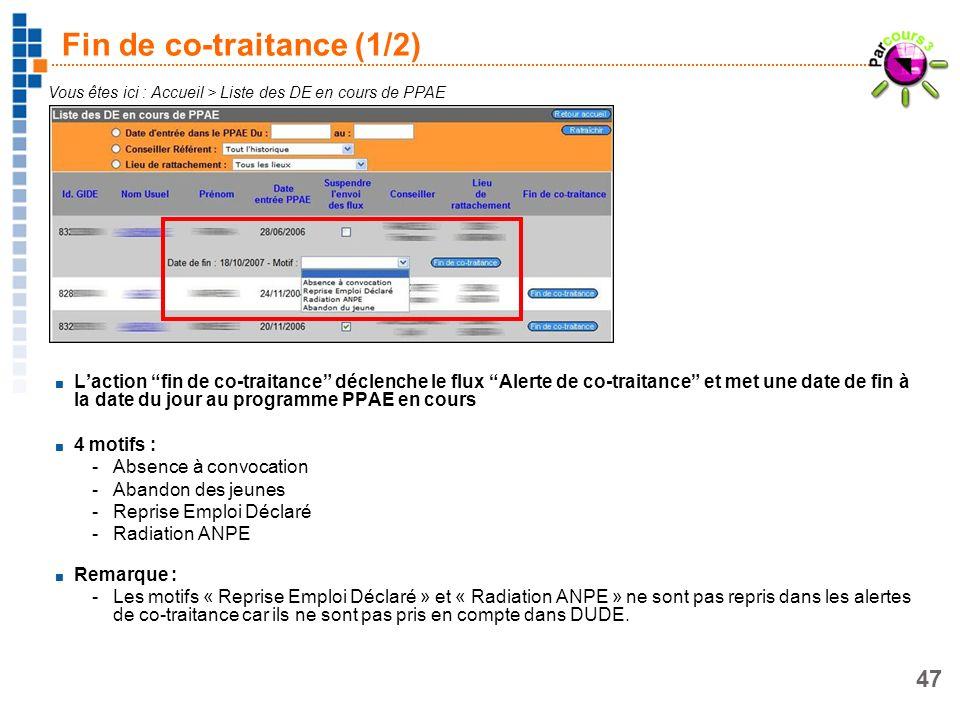 47 Fin de co-traitance (1/2) Vous êtes ici : Accueil > Liste des DE en cours de PPAE Laction fin de co-traitance déclenche le flux Alerte de co-traita