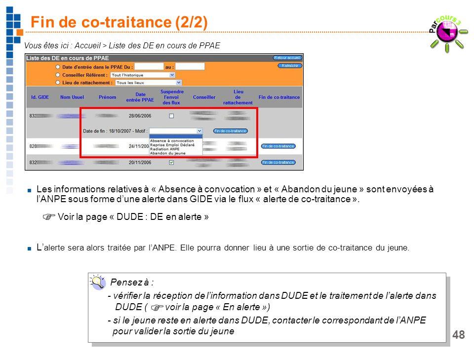 48 Fin de co-traitance (2/2) Vous êtes ici : Accueil > Liste des DE en cours de PPAE Les informations relatives à « Absence à convocation » et « Aband