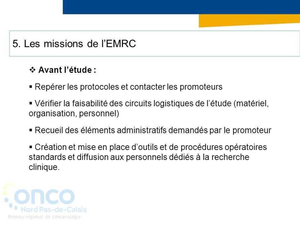 5. Les missions de lEMRC Avant létude : Repérer les protocoles et contacter les promoteurs Vérifier la faisabilité des circuits logistiques de létude